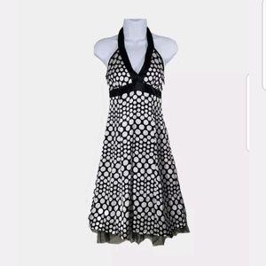 Jodi Kristopher Halter Dress Black White Polka Dot